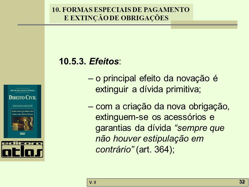 10.5.3. Efeitos: – o principal efeito da novação é extinguir a dívida primitiva;
