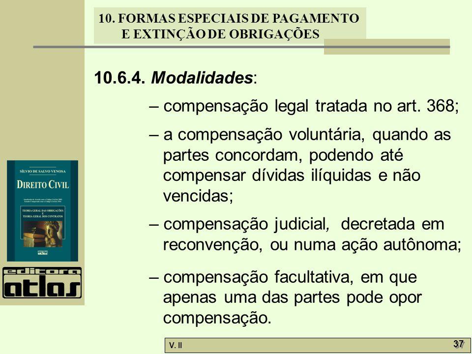 10.6.4. Modalidades: – compensação legal tratada no art. 368;