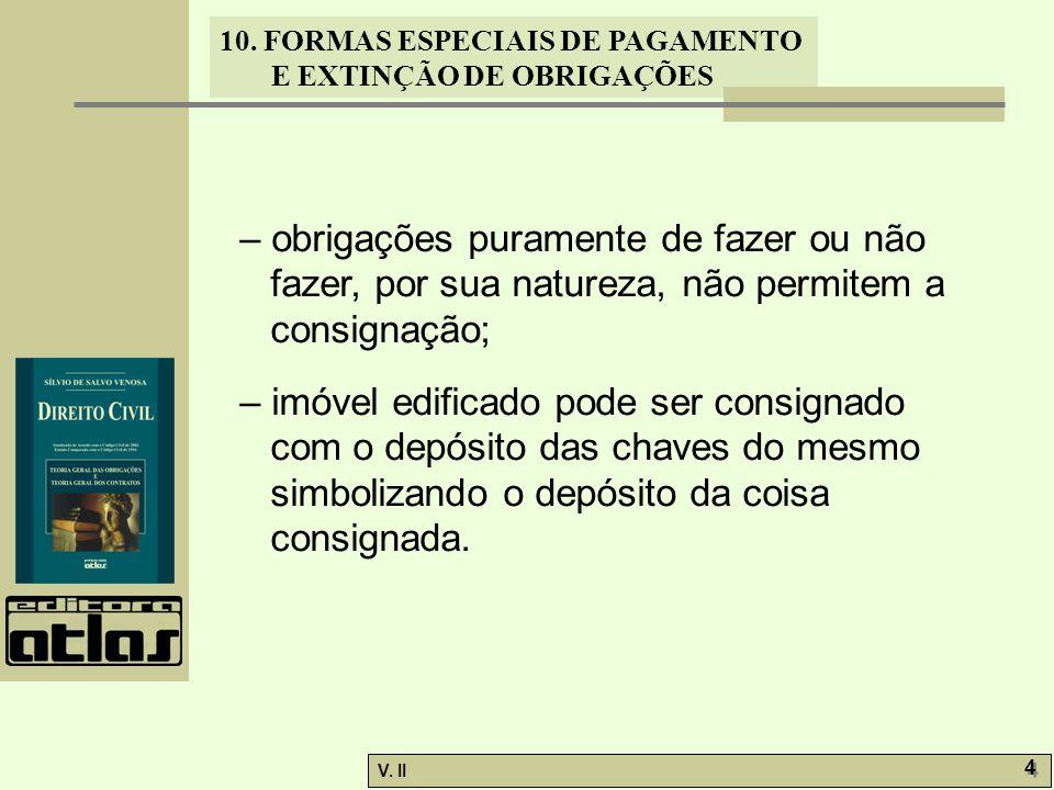 – obrigações puramente de fazer ou não fazer, por sua natureza, não permitem a consignação;