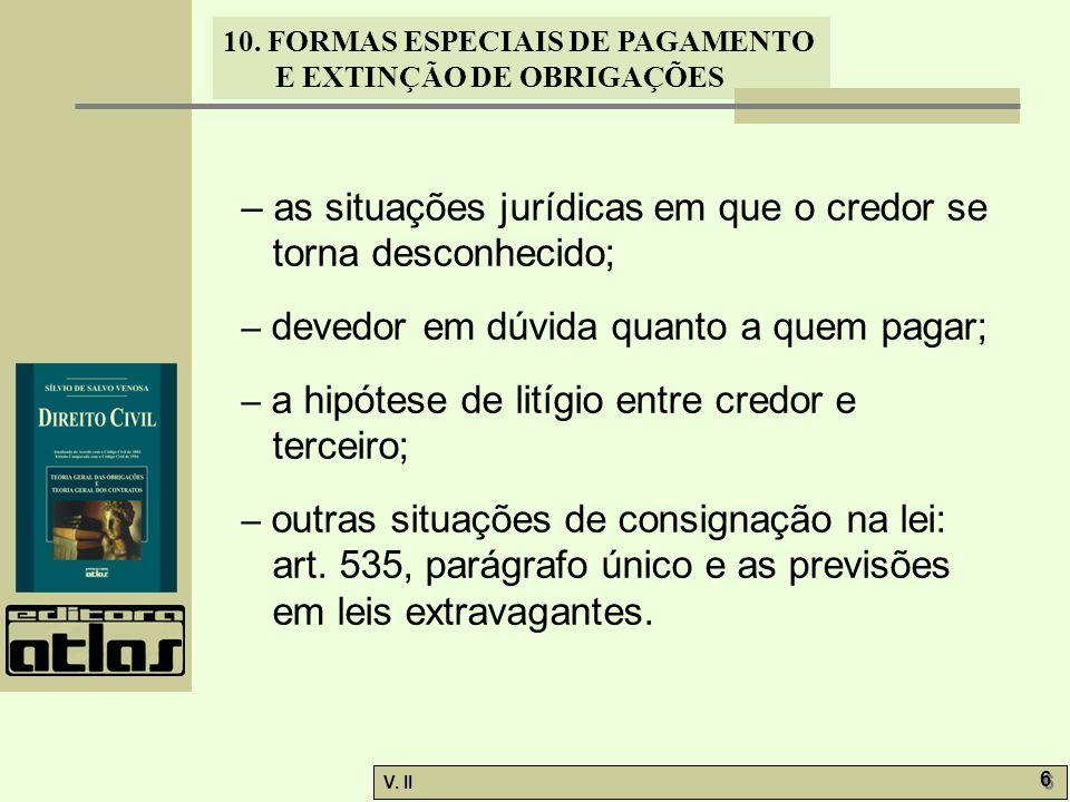 – as situações jurídicas em que o credor se torna desconhecido;