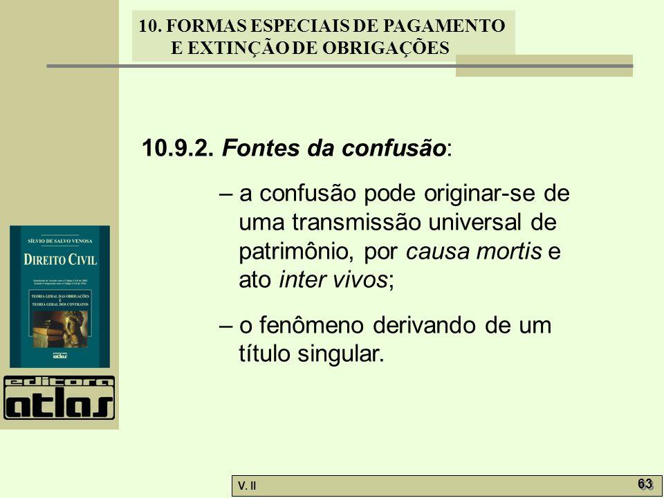 10.9.2. Fontes da confusão: – a confusão pode originar-se de uma transmissão universal de patrimônio, por causa mortis e ato inter vivos;
