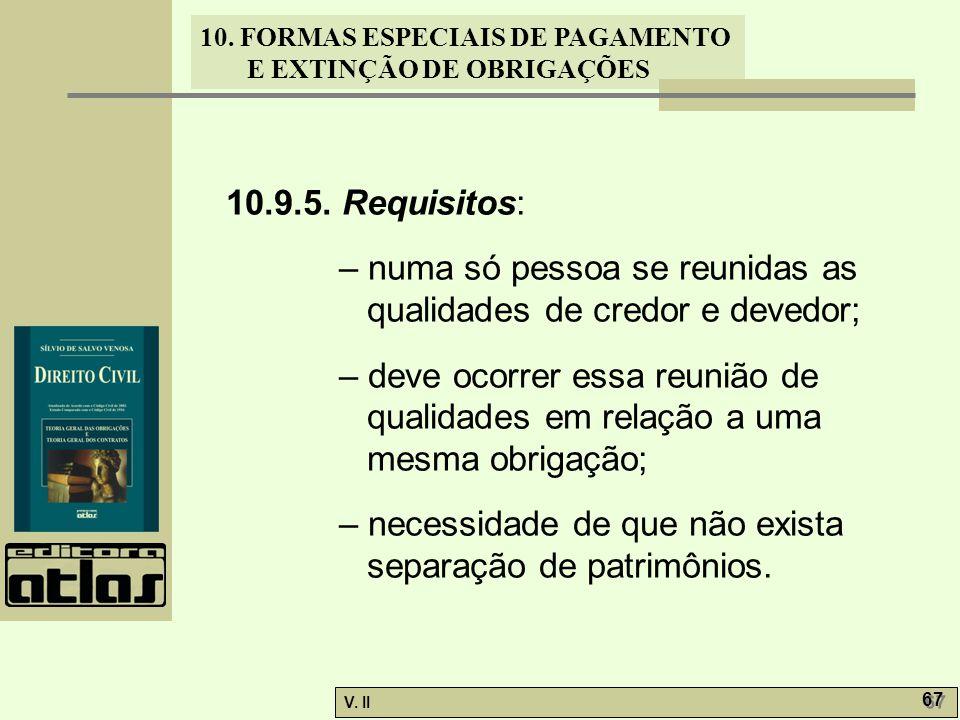 10.9.5. Requisitos: – numa só pessoa se reunidas as qualidades de credor e devedor;