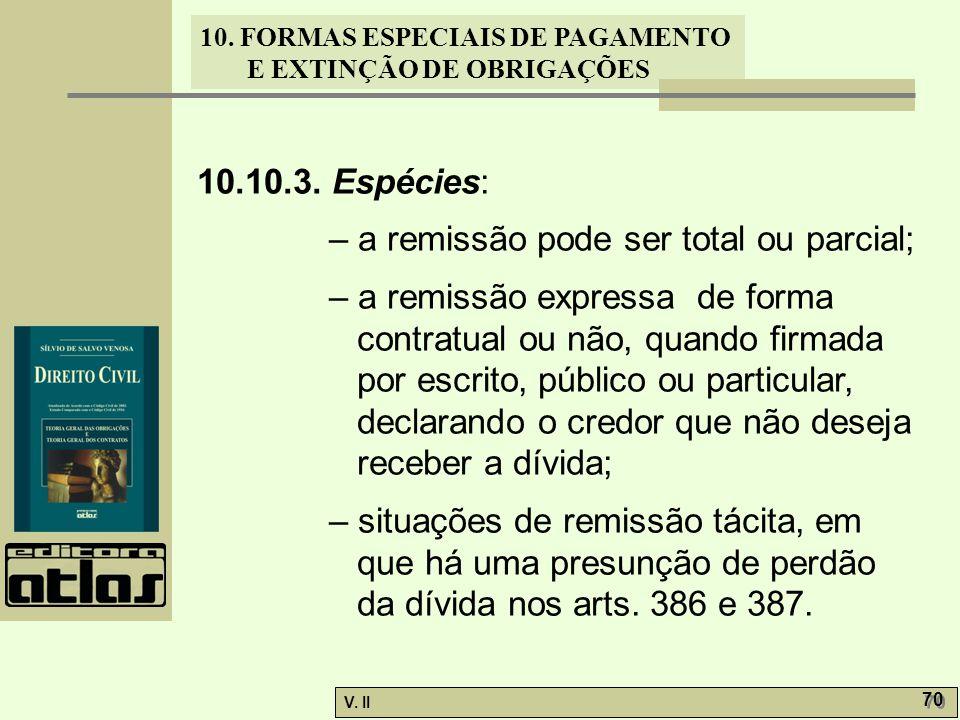 10.10.3. Espécies: – a remissão pode ser total ou parcial;