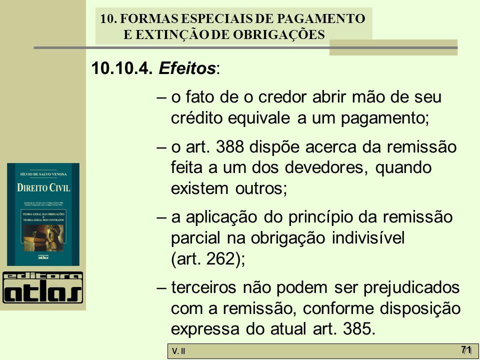 10.10.4. Efeitos: – o fato de o credor abrir mão de seu crédito equivale a um pagamento;