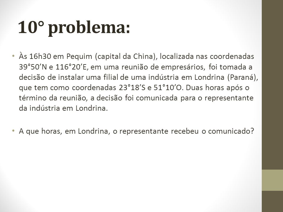10° problema: