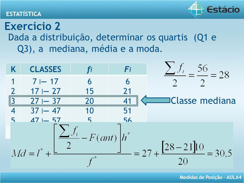 Exercício 2 Dada a distribuição, determinar os quartis (Q1 e Q3), a mediana, média e a moda. K. CLASSES.