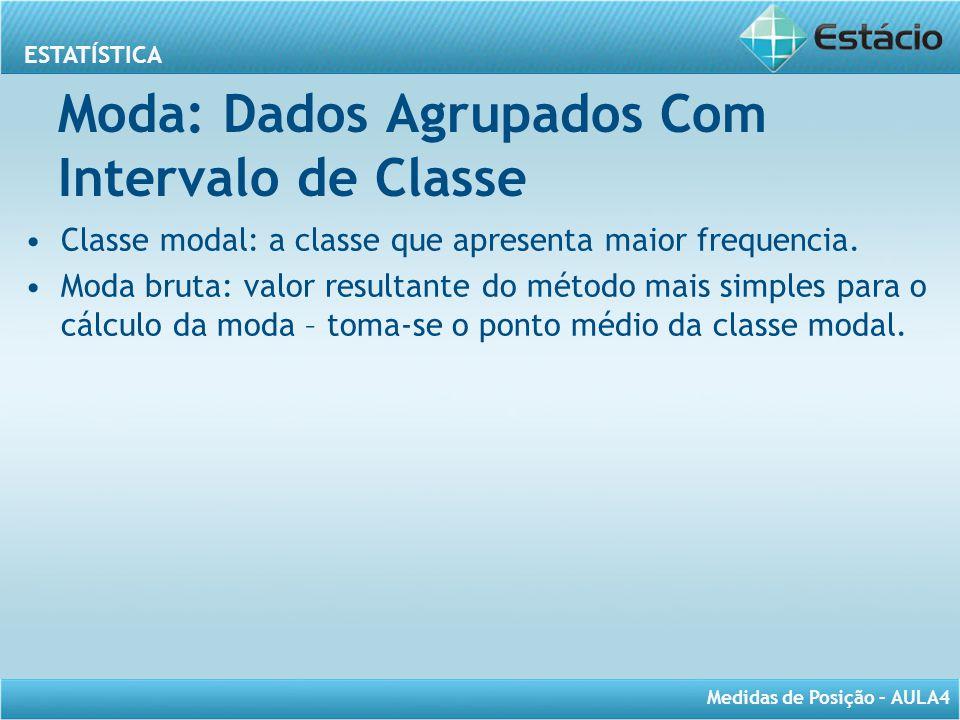 Moda: Dados Agrupados Com Intervalo de Classe