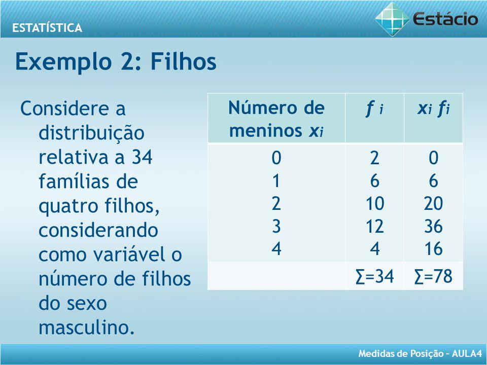 Exemplo 2: Filhos Considere a distribuição relativa a 34 famílias de quatro filhos, considerando como variável o número de filhos do sexo masculino.