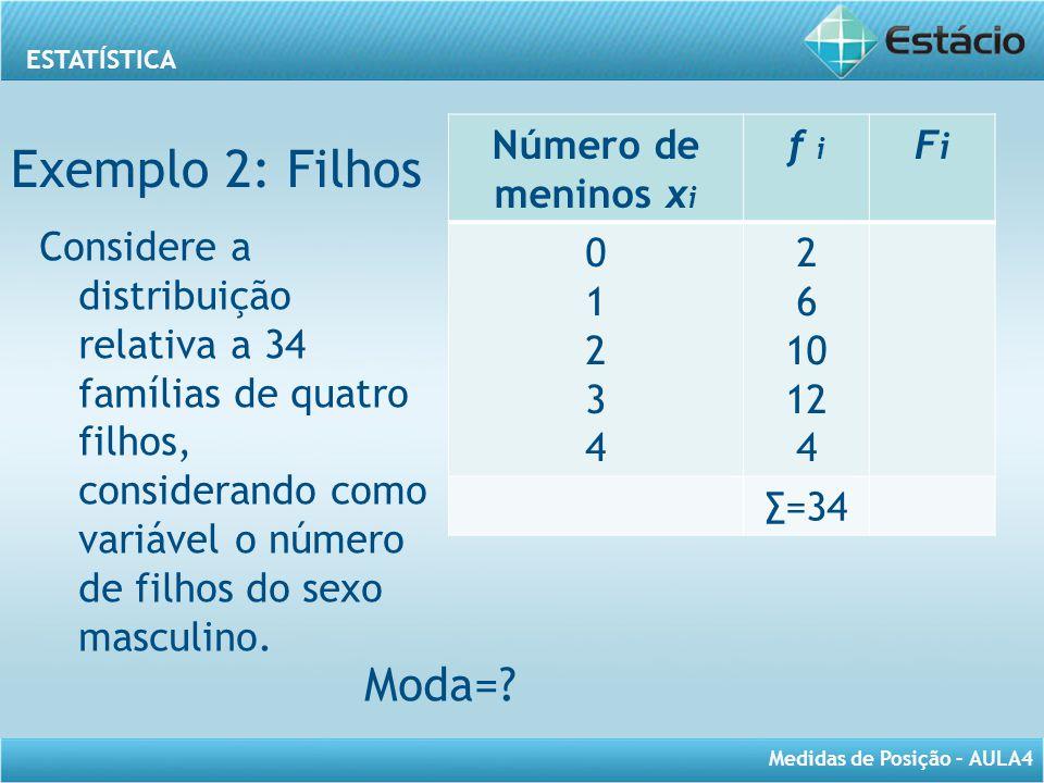 Exemplo 2: Filhos Moda= Número de meninos xi f i Fi 1 2 3 4 6 10 12
