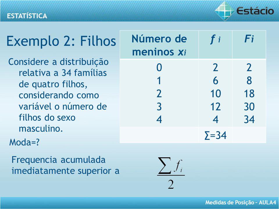 Exemplo 2: Filhos Número de meninos xi f i Fi 1 2 3 4 6 10 12 8 18 30