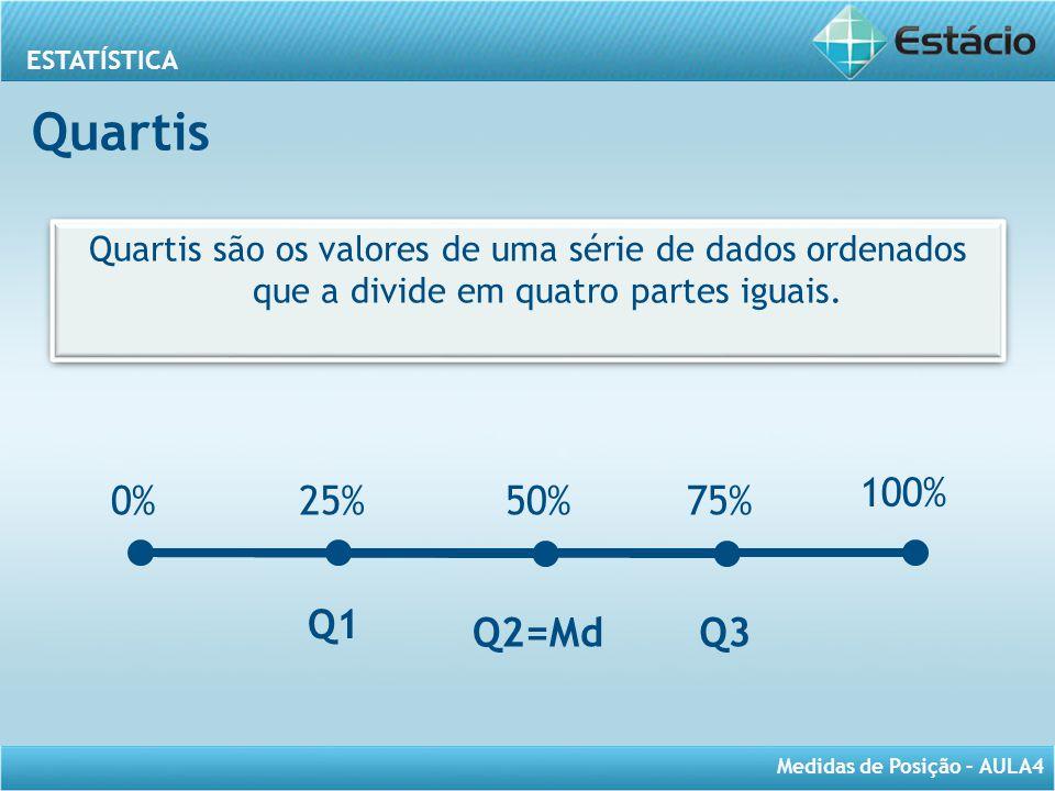 Quartis Quartis são os valores de uma série de dados ordenados que a divide em quatro partes iguais.
