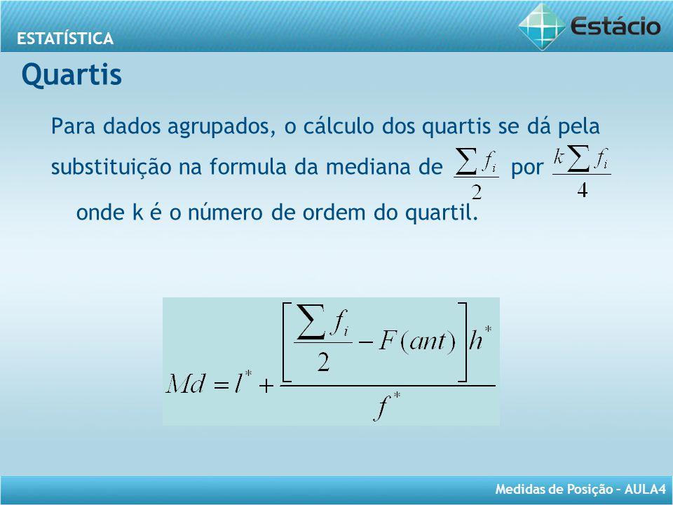 Quartis Para dados agrupados, o cálculo dos quartis se dá pela substituição na formula da mediana de por.