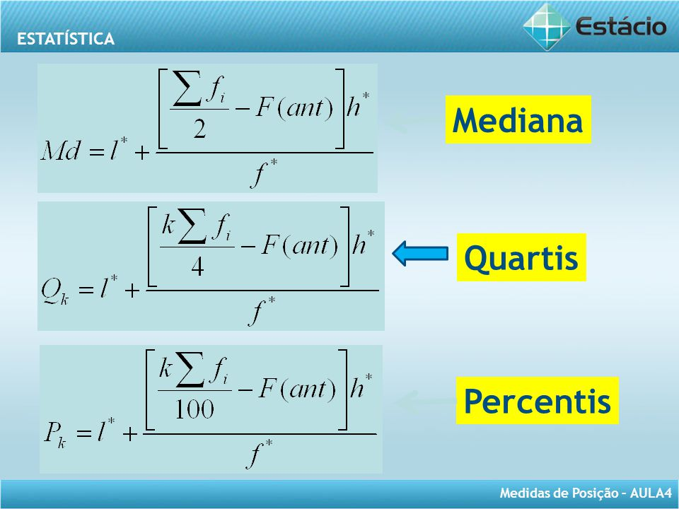 Mediana Quartis Percentis