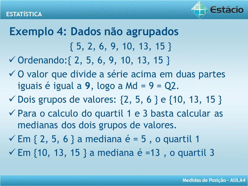 Exemplo 4: Dados não agrupados
