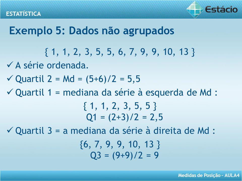 Exemplo 5: Dados não agrupados