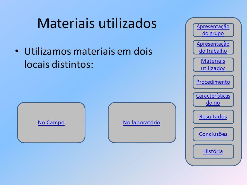 Materiais utilizados Utilizamos materiais em dois locais distintos: