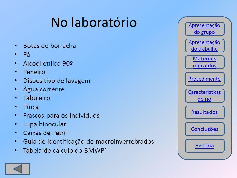 No laboratório Botas de borracha Pá Álcool etílico 90º Peneiro