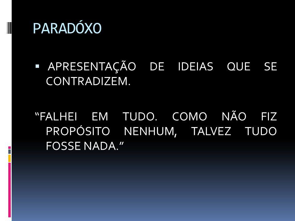PARADÓXO APRESENTAÇÃO DE IDEIAS QUE SE CONTRADIZEM.