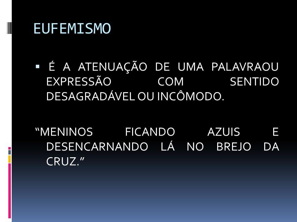 EUFEMISMO É A ATENUAÇÃO DE UMA PALAVRAOU EXPRESSÃO COM SENTIDO DESAGRADÁVEL OU INCÔMODO.