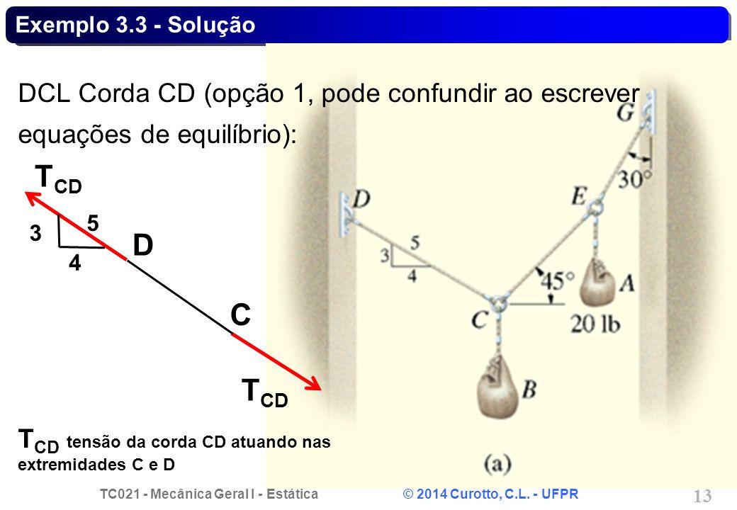 Exemplo 3.3 - Solução DCL Corda CD (opção 1, pode confundir ao escrever equações de equilíbrio): TCD.