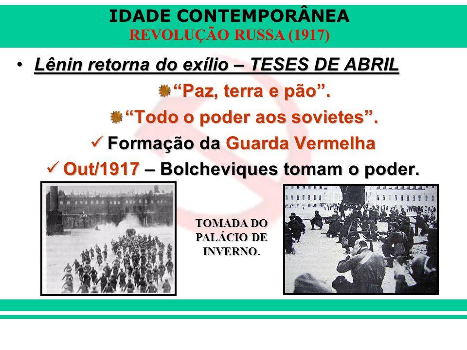 Lênin retorna do exílio – TESES DE ABRIL Paz, terra e pão .