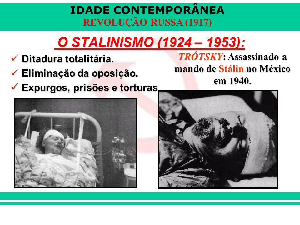 TRÓTSKY: Assassinado a mando de Stálin no México em 1940.