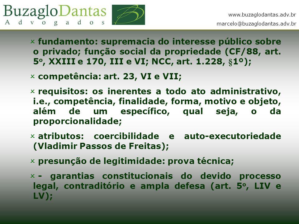 fundamento: supremacia do interesse público sobre o privado; função social da propriedade (CF/88, art. 5o, XXIII e 170, III e VI; NCC, art. 1.228, §1º);