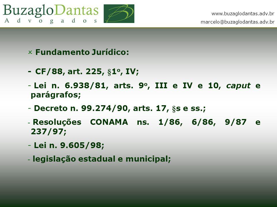 Fundamento Jurídico: - CF/88, art. 225, §1o, IV; Lei n. 6.938/81, arts. 9o, III e IV e 10, caput e parágrafos;
