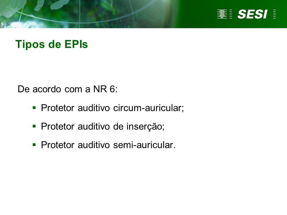 Tipos de EPIs De acordo com a NR 6: