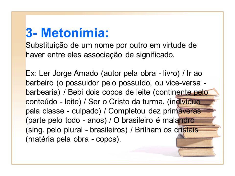 3- Metonímia: Substituição de um nome por outro em virtude de haver entre eles associação de significado.
