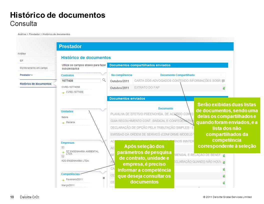 Histórico de documentos Consulta