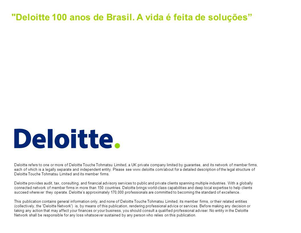 Deloitte 100 anos de Brasil. A vida é feita de soluções