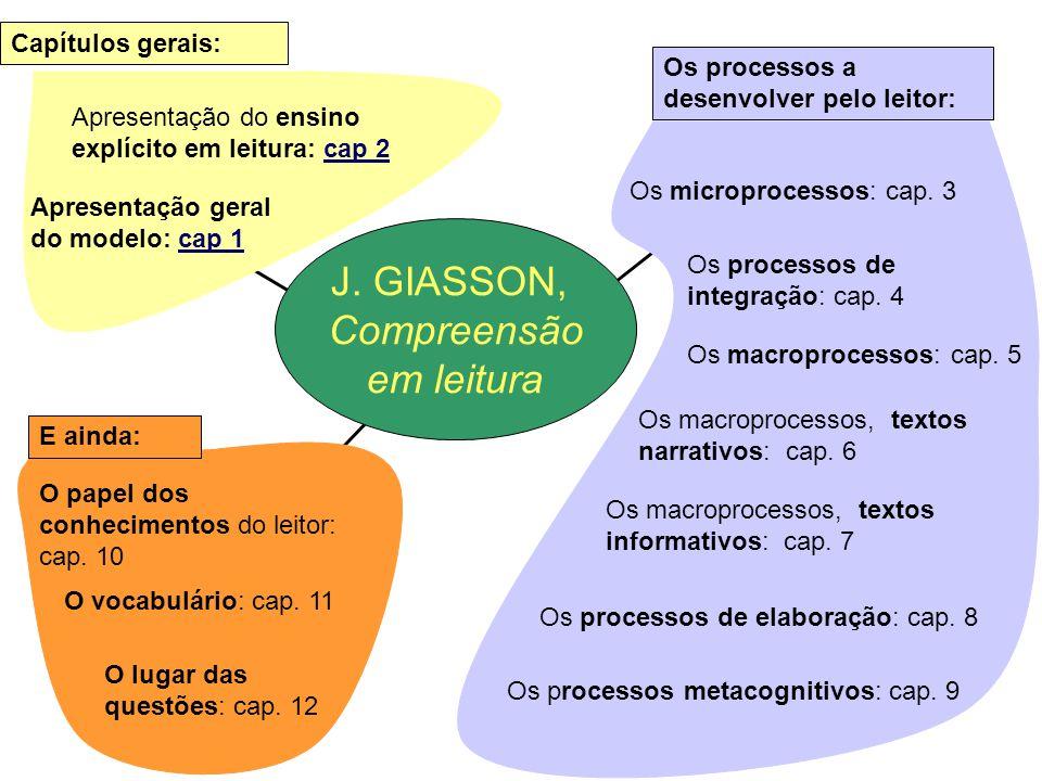 J. GIASSON, Compreensão em leitura Capítulos gerais: