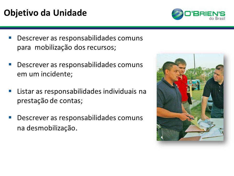 Objetivo da Unidade Descrever as responsabilidades comuns para mobilização dos recursos; Descrever as responsabilidades comuns em um incidente;