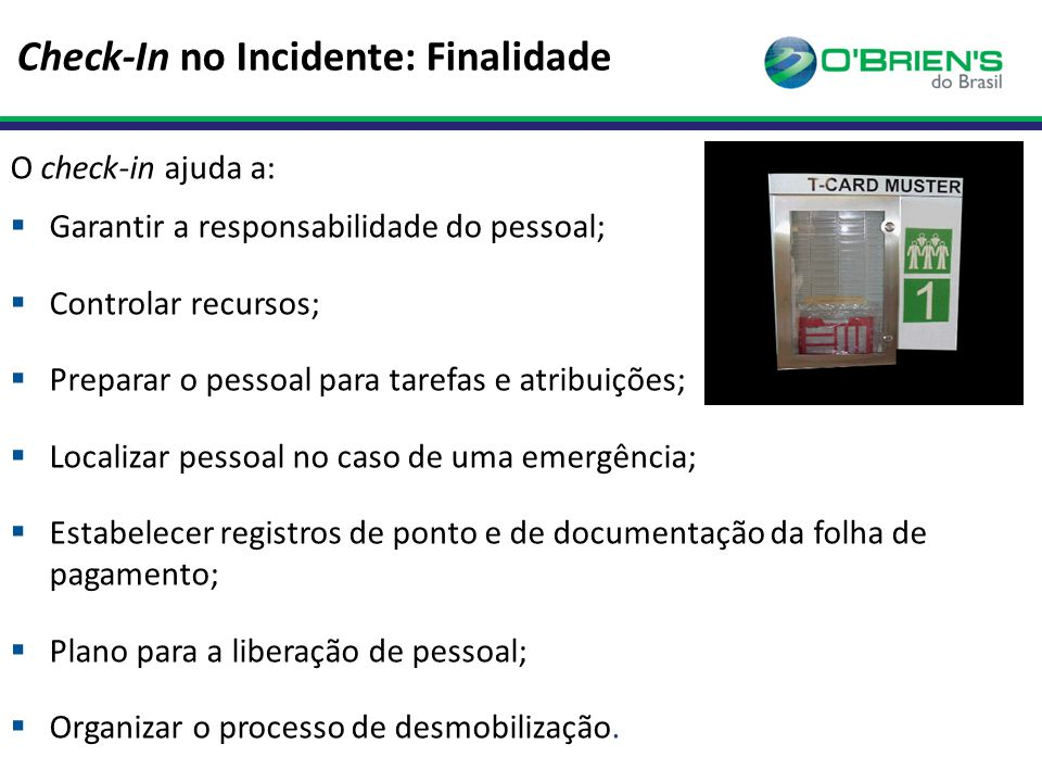 Check-In no Incidente: Finalidade