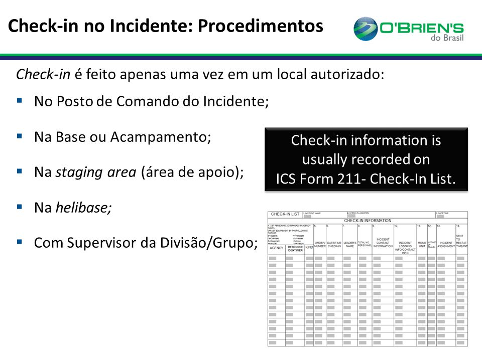Check-in no Incidente: Procedimentos