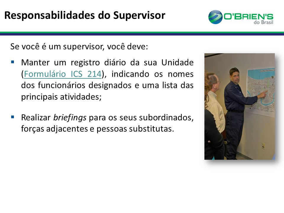 Responsabilidades do Supervisor