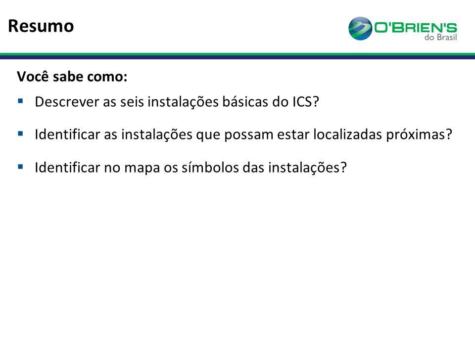 Resumo Você sabe como: Descrever as seis instalações básicas do ICS