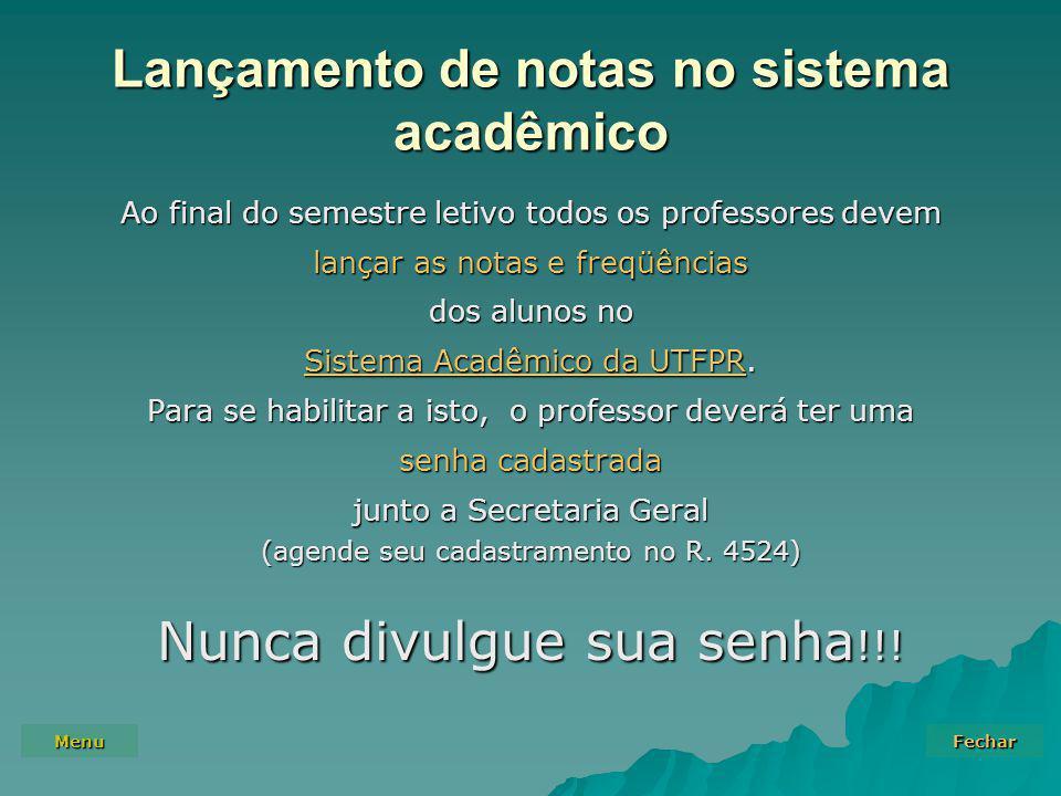 Lançamento de notas no sistema acadêmico