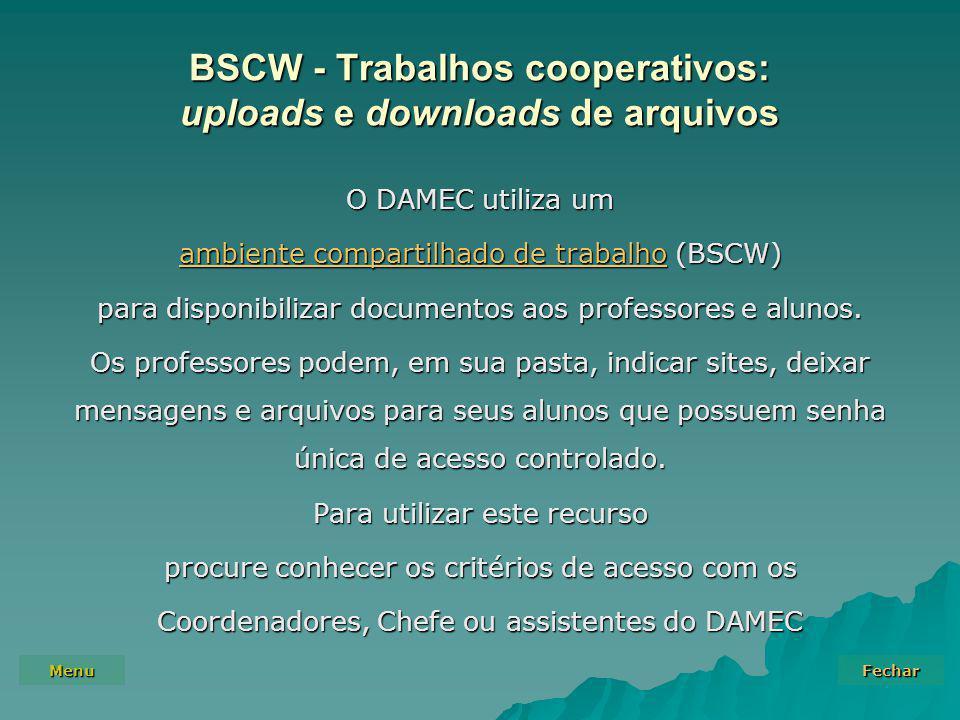 BSCW - Trabalhos cooperativos: uploads e downloads de arquivos