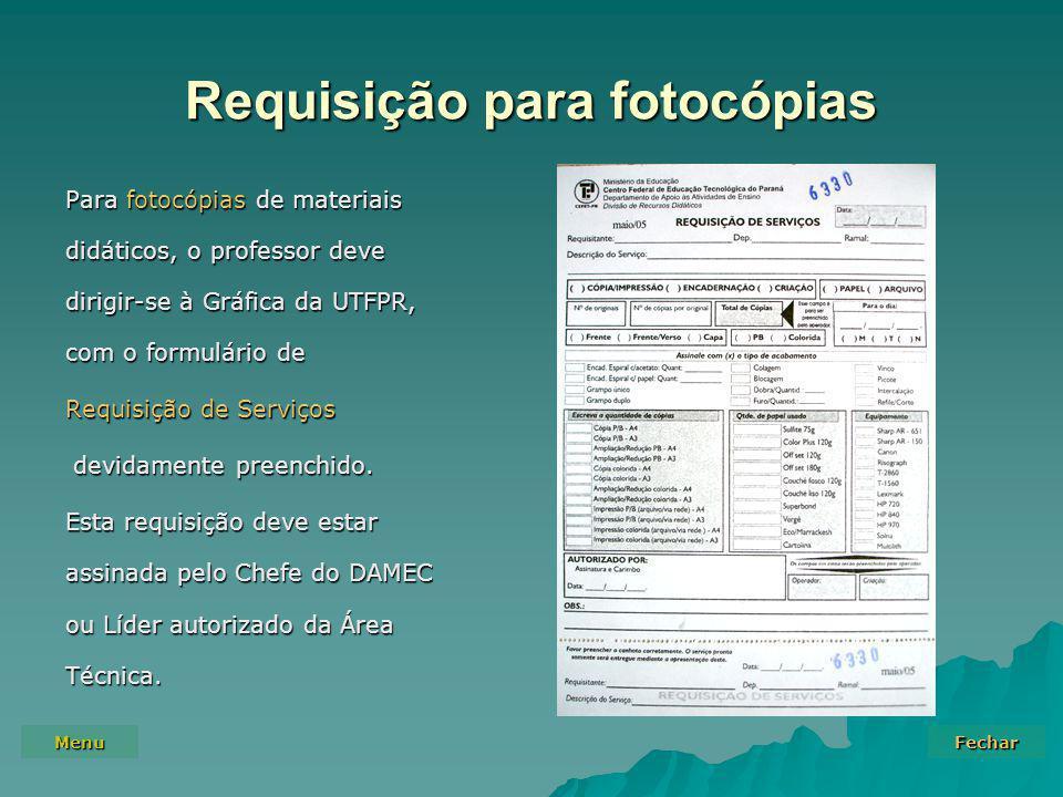 Requisição para fotocópias