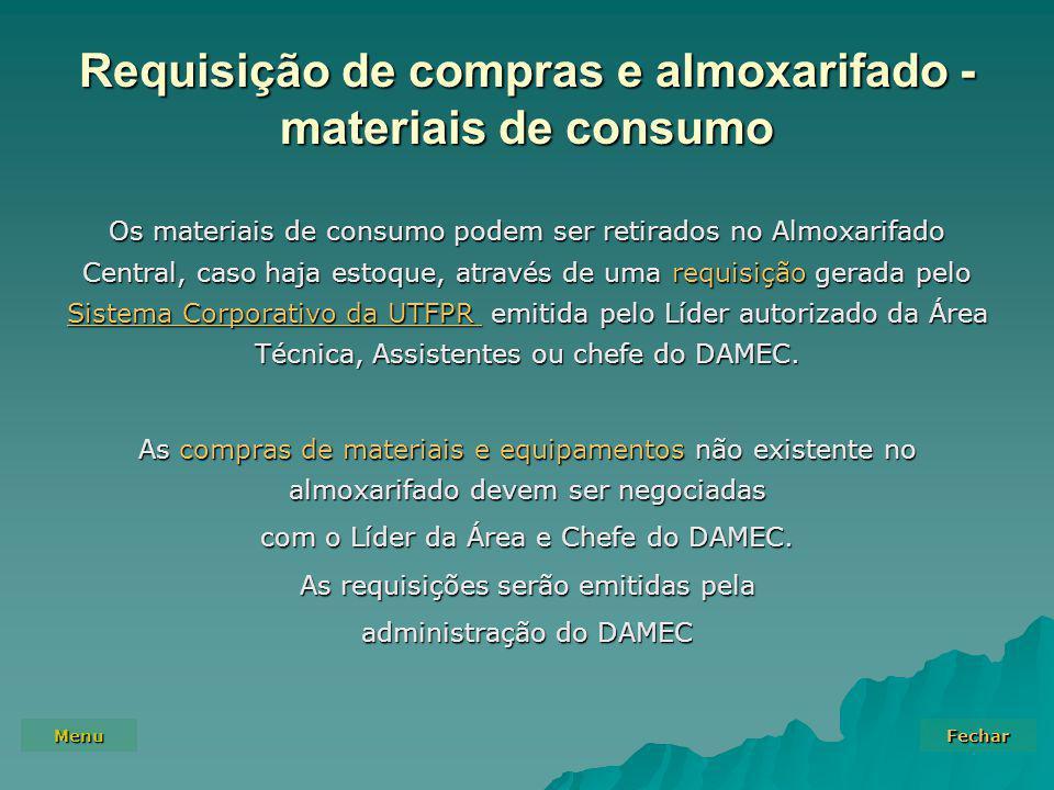 Requisição de compras e almoxarifado - materiais de consumo