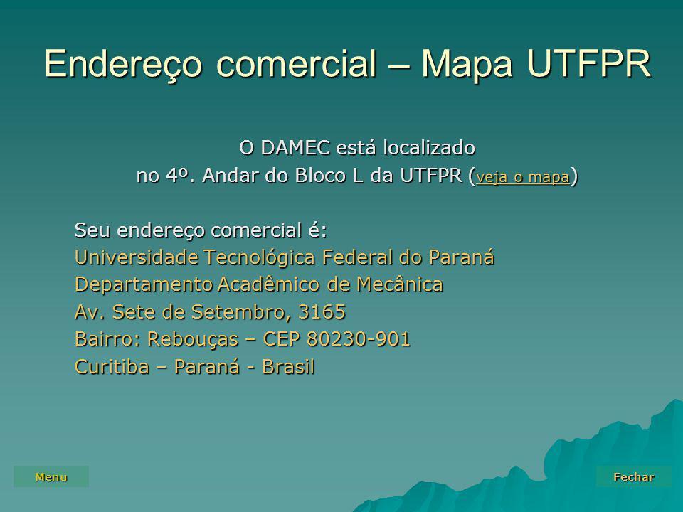 Endereço comercial – Mapa UTFPR