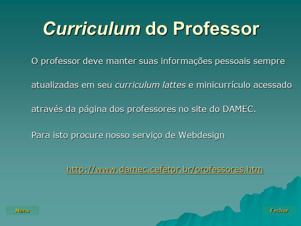 Curriculum do Professor