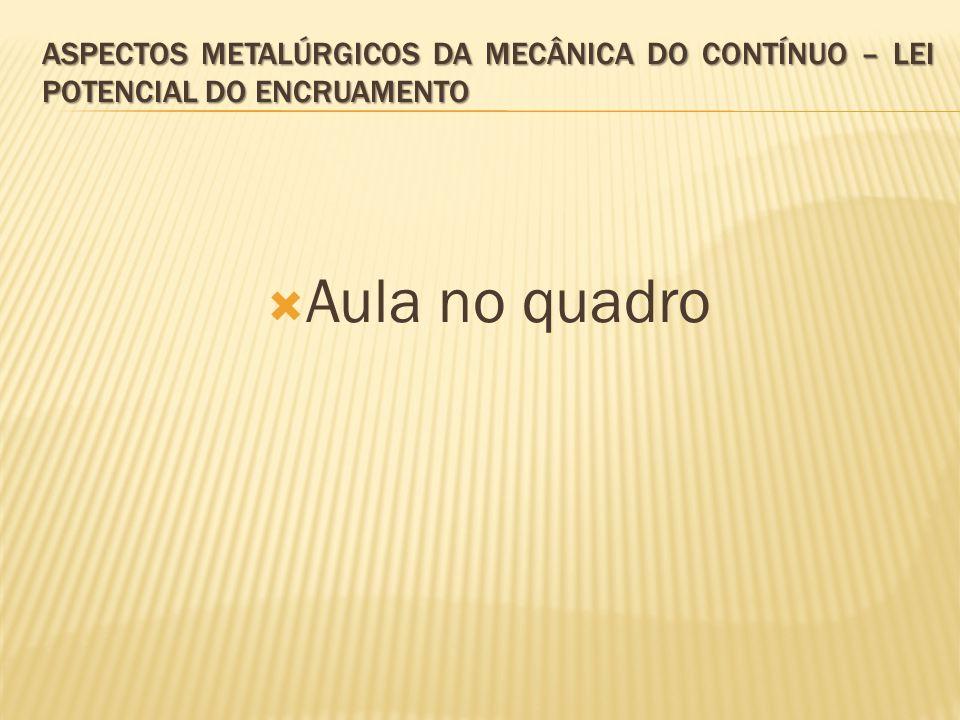 Aspectos metalúrgicos da mecânica do contínuo – Lei potencial do encruamento