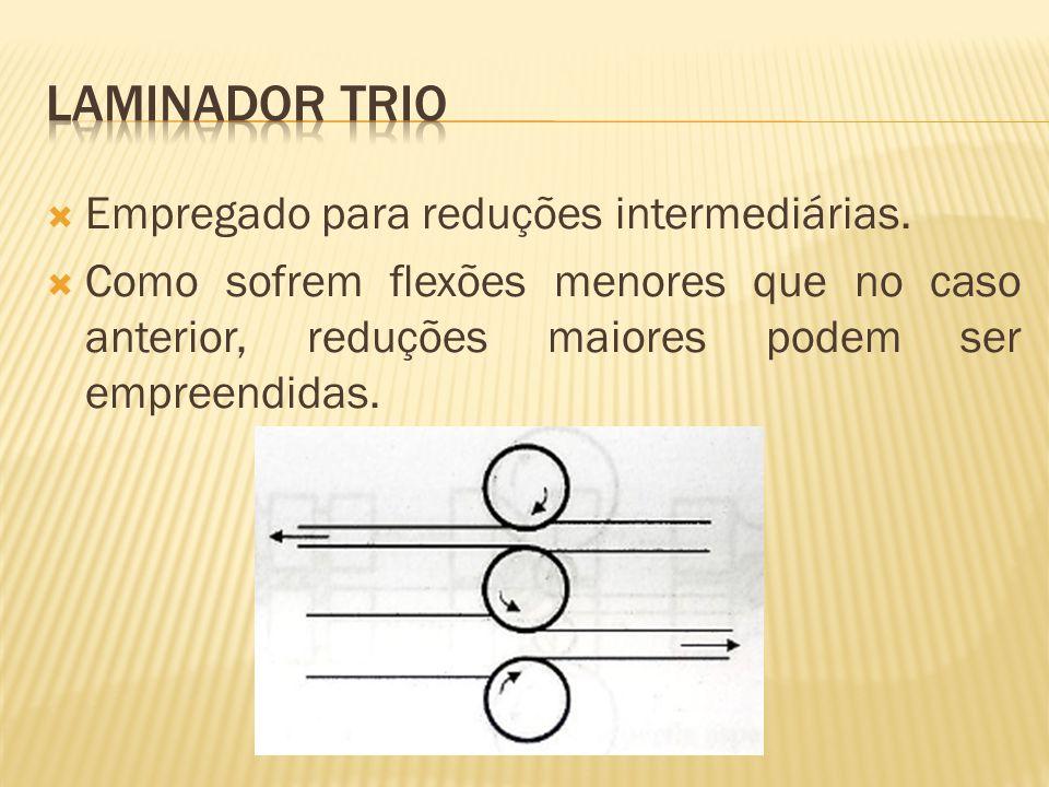 Laminador trio Empregado para reduções intermediárias.