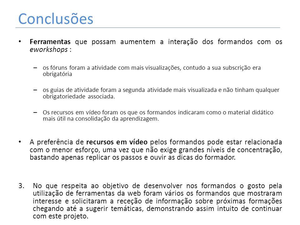 Conclusões Ferramentas que possam aumentem a interação dos formandos com os eworkshops :