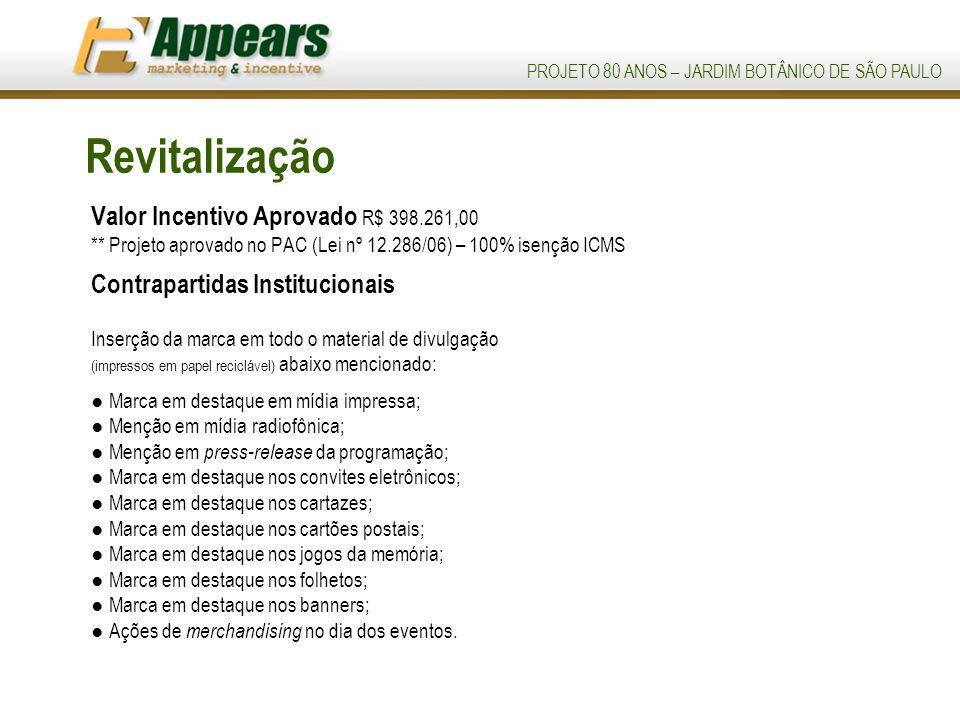 Revitalização Valor Incentivo Aprovado R$ 398.261,00 ** Projeto aprovado no PAC (Lei nº 12.286/06) – 100% isenção ICMS.