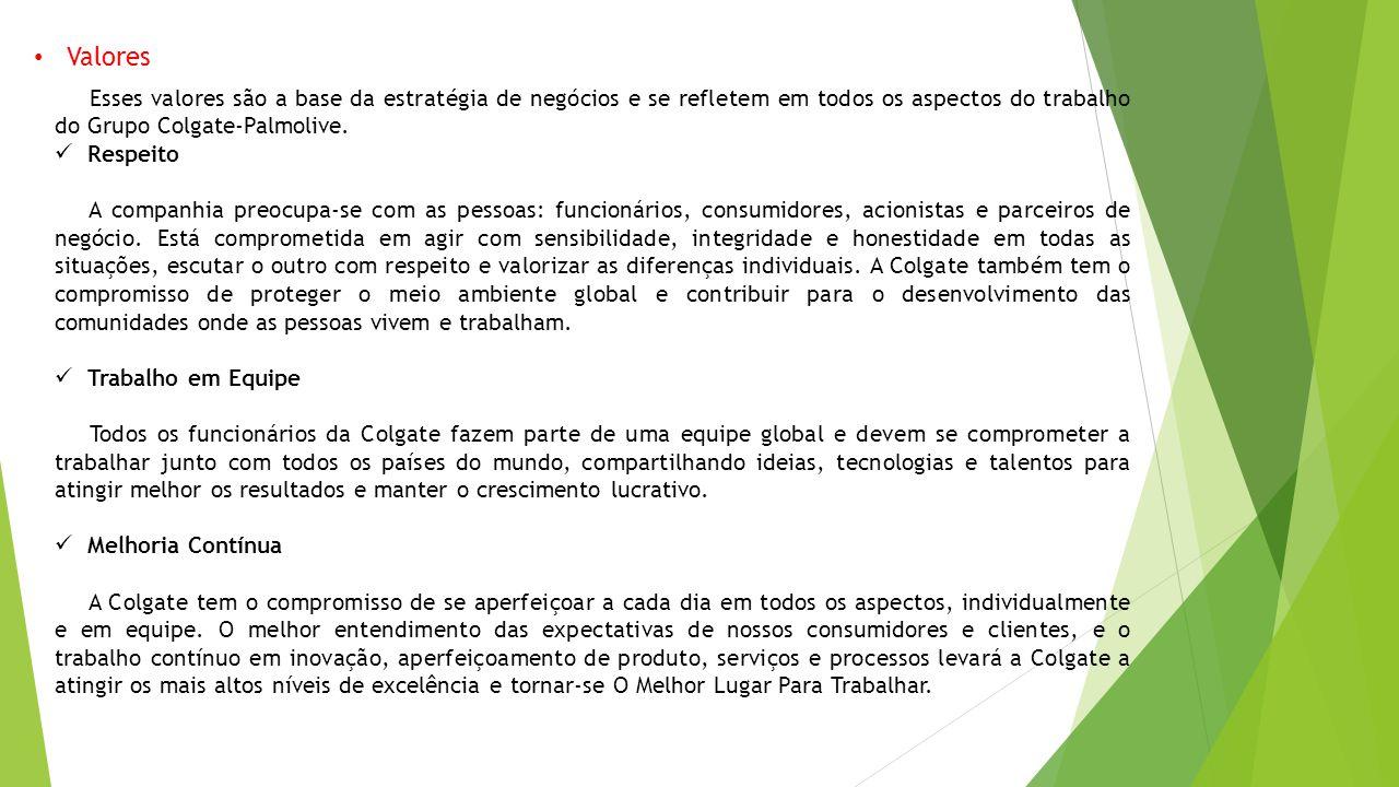 Valores Esses valores são a base da estratégia de negócios e se refletem em todos os aspectos do trabalho do Grupo Colgate-Palmolive.