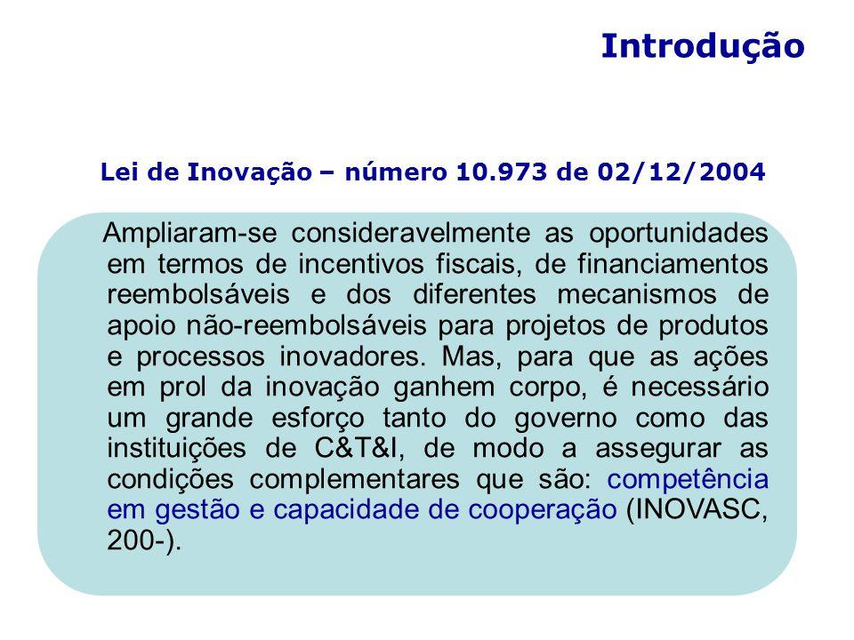 Lei de Inovação – número 10.973 de 02/12/2004